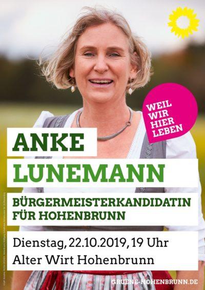 Anke Lunemann Veranstaltungsplakat 22.10.19
