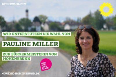 Wir unterstützen die Wahl von Pauline Miller